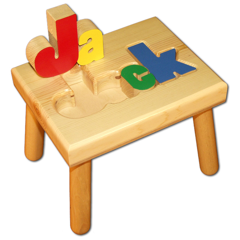Small Name Puzzle Stool Primary Colors