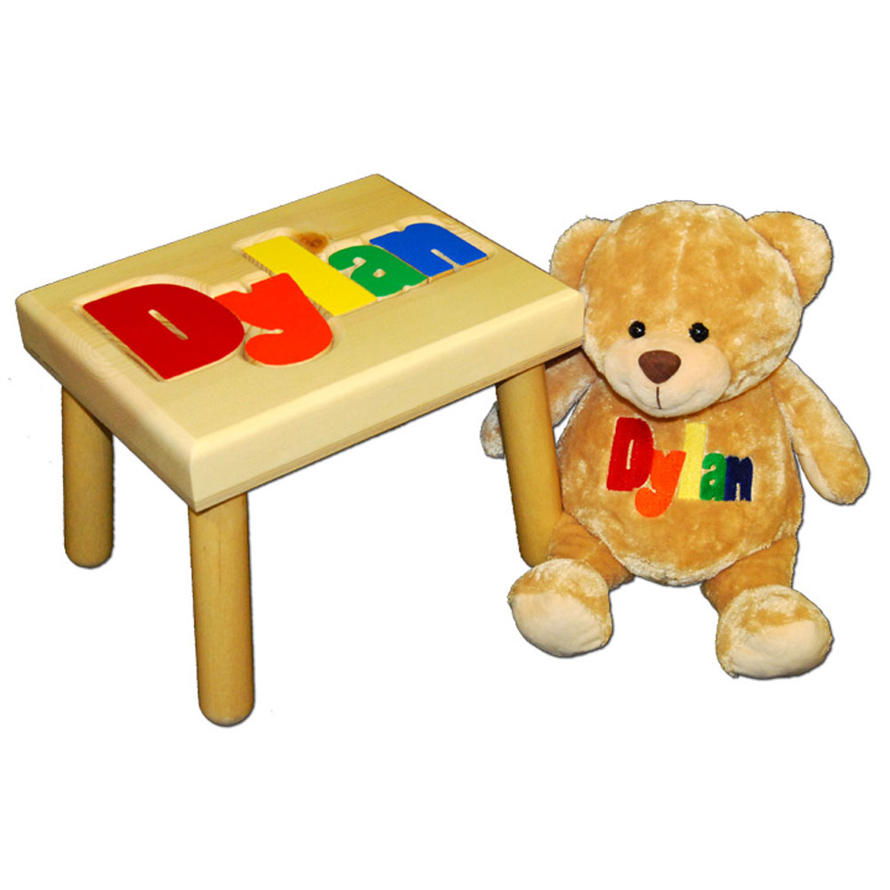 name stool and embroidered teddy bear