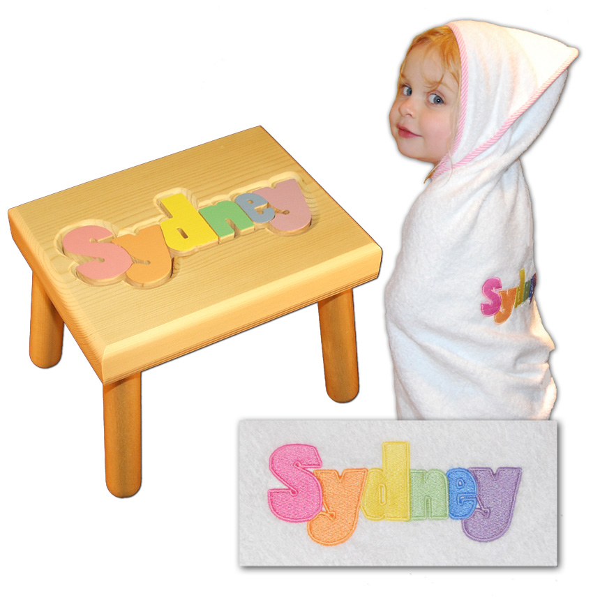 name stool and bath towel pastel colors