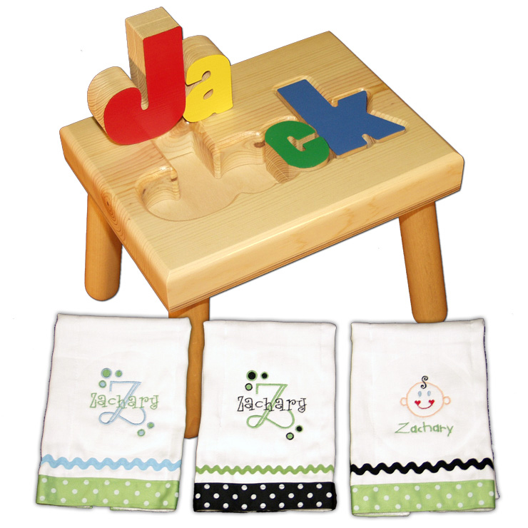 name stool and burp cloth primary colors