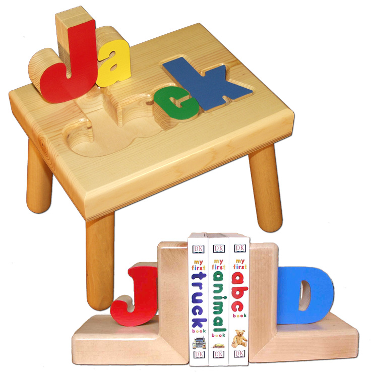 name stool and bookends