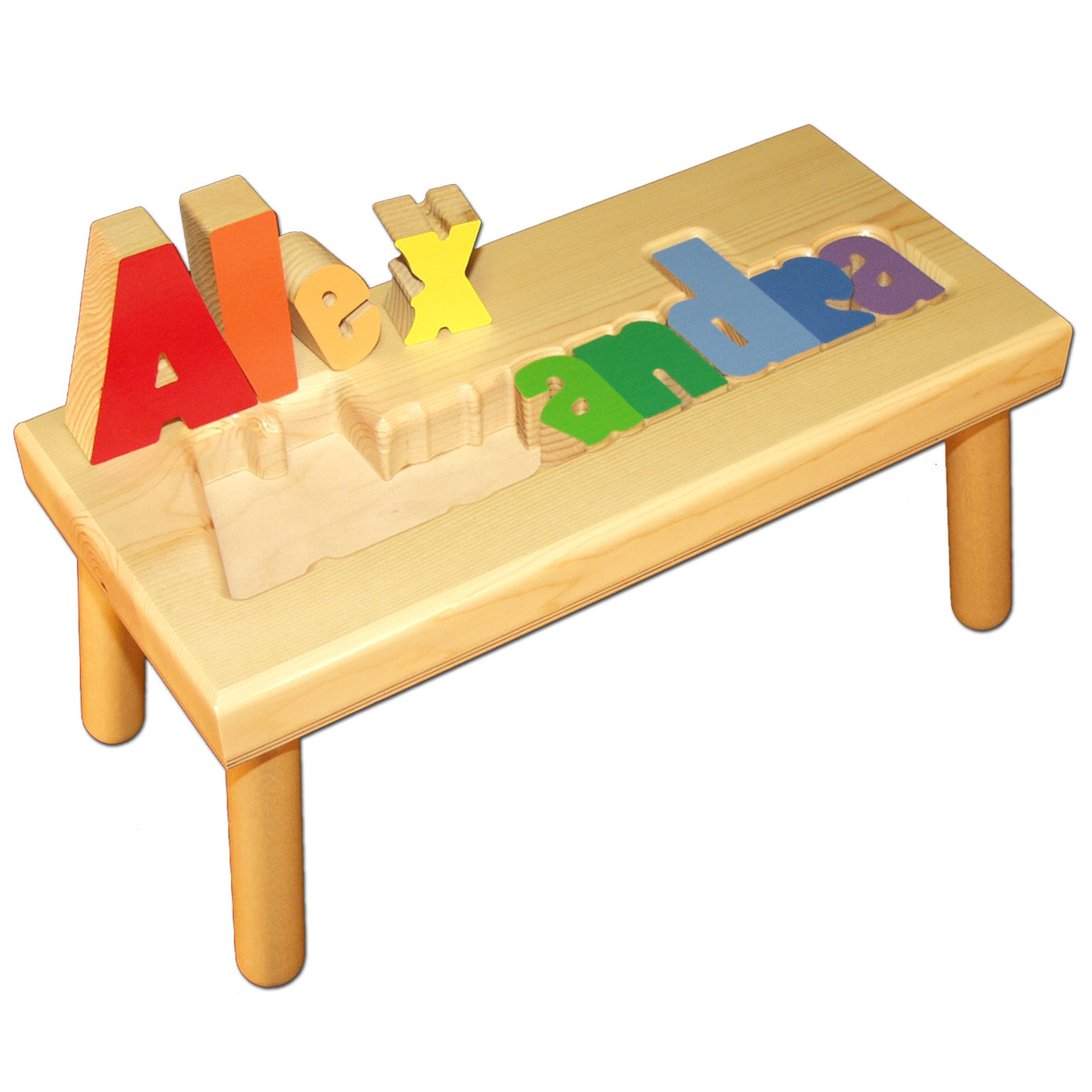 Large Name Puzzle Stool Primary Colors