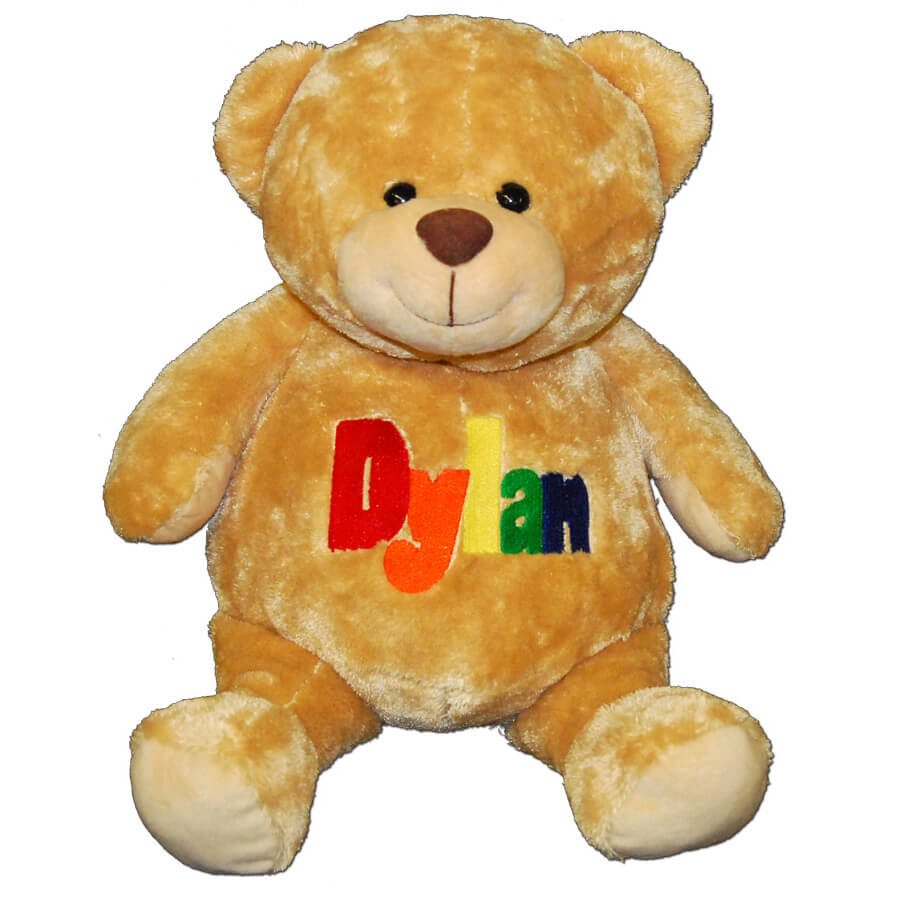 personalized teddy bear in primary colors