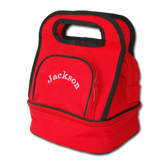 personalized lunch red lunch tote