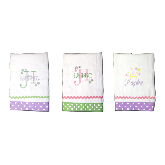 personalized burp cloths girl