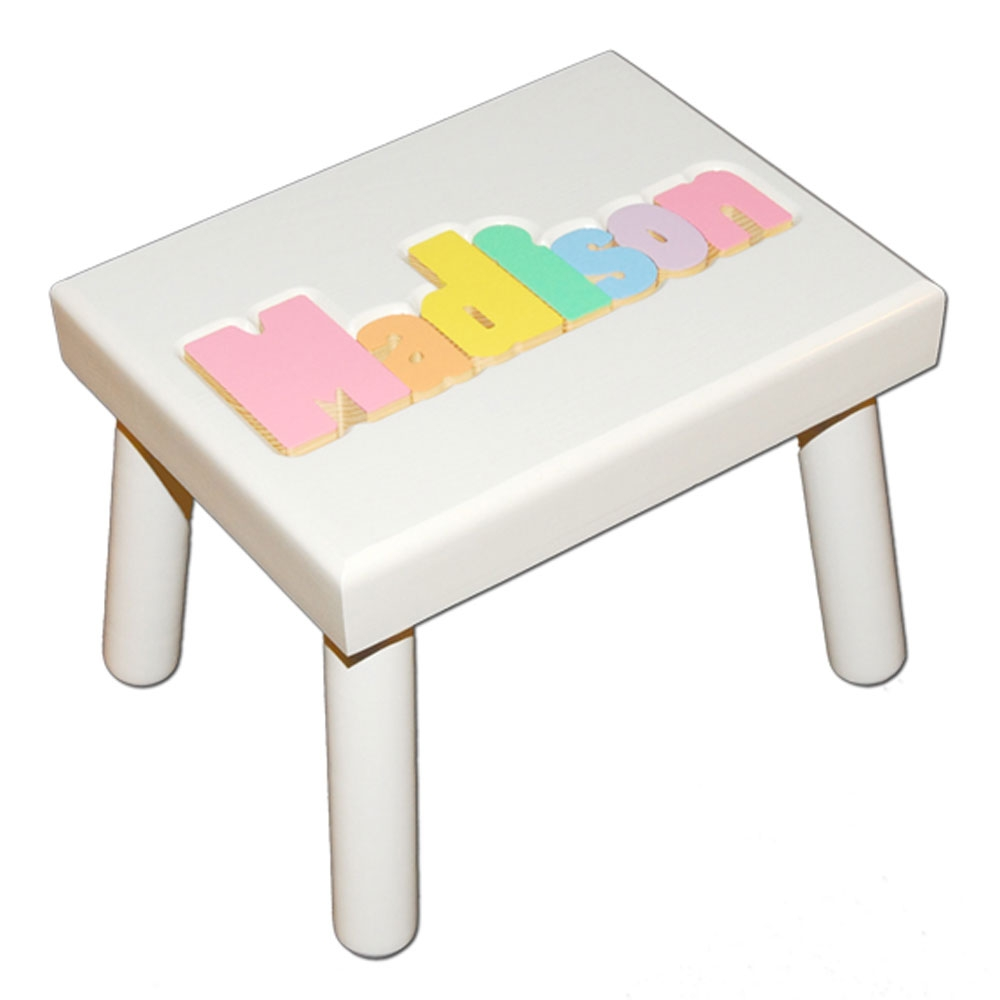 White Small Name Puzzle Stool In Pastel Colors Damhorst