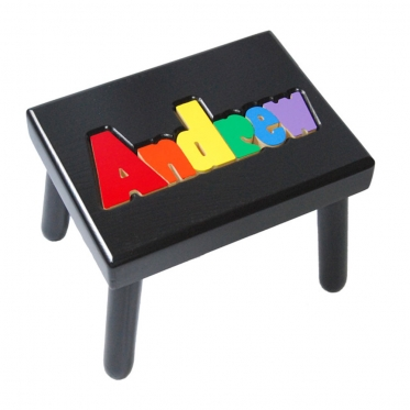 Black Name Puzzle Stool In Primary Colors Damhorst Toys
