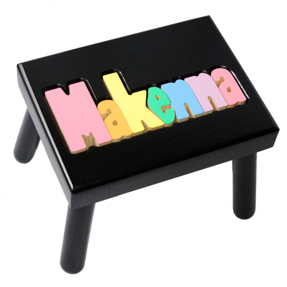 Black Name Puzzle Stool In Pastel Colors Damhorst Toys