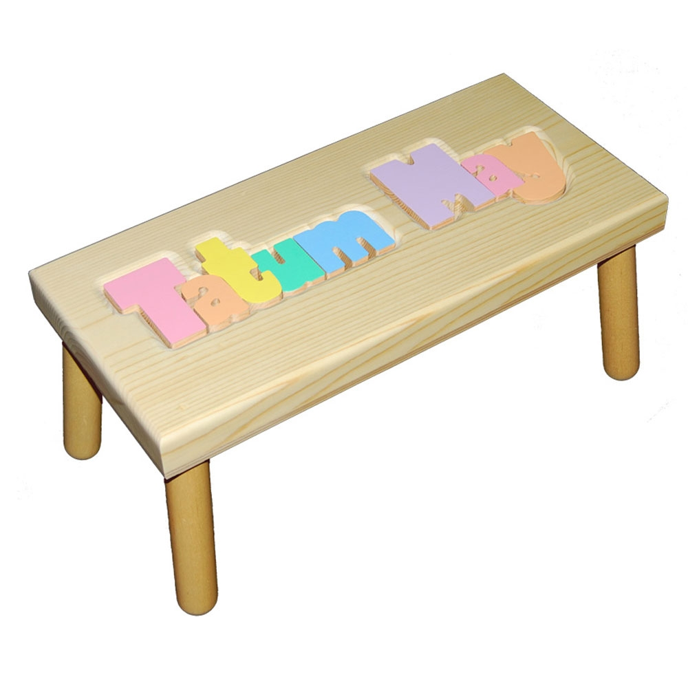 Large Name Puzzle Stool In Pastel Colors Damhorst Toys