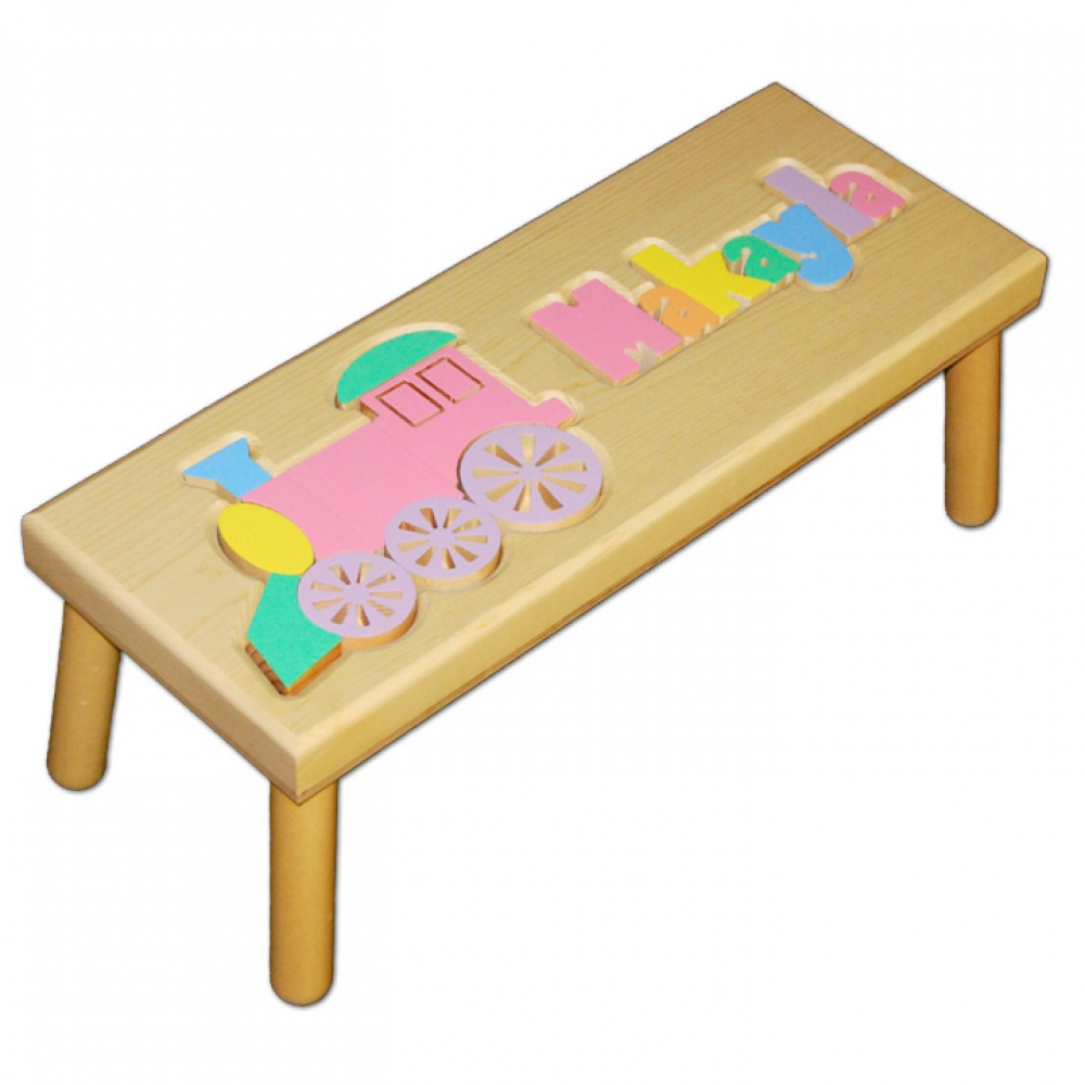 Name And Train Puzzle Stool In Pastel Colors Damhorst