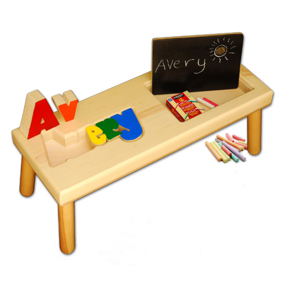 Name And Chalk Board Puzzle Stool Primary Colors