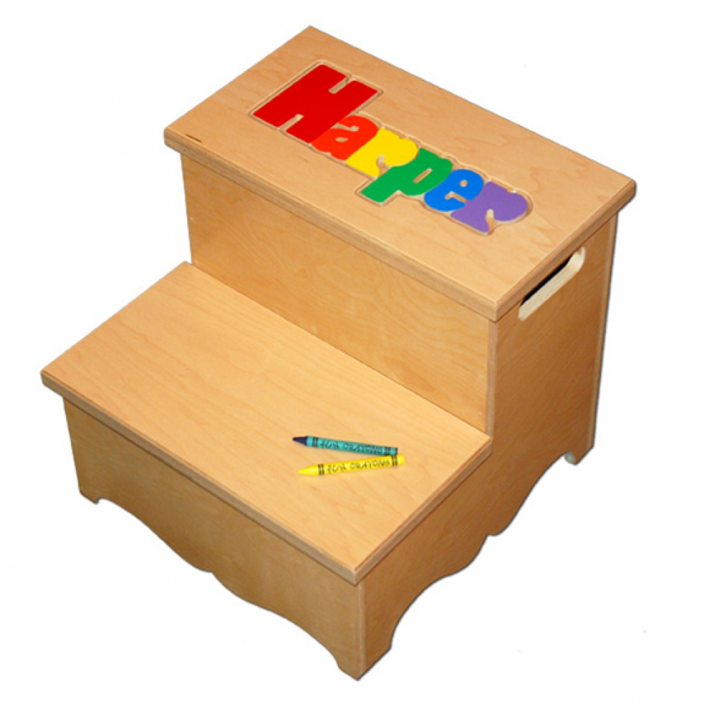 Two Step Name Puzzle Stool Primary