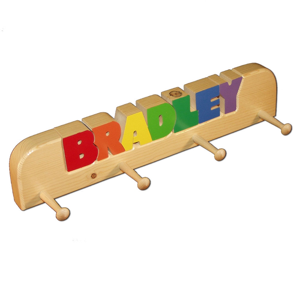 4 Peg Personalized Coat Rack In Primary Colors Damhorst