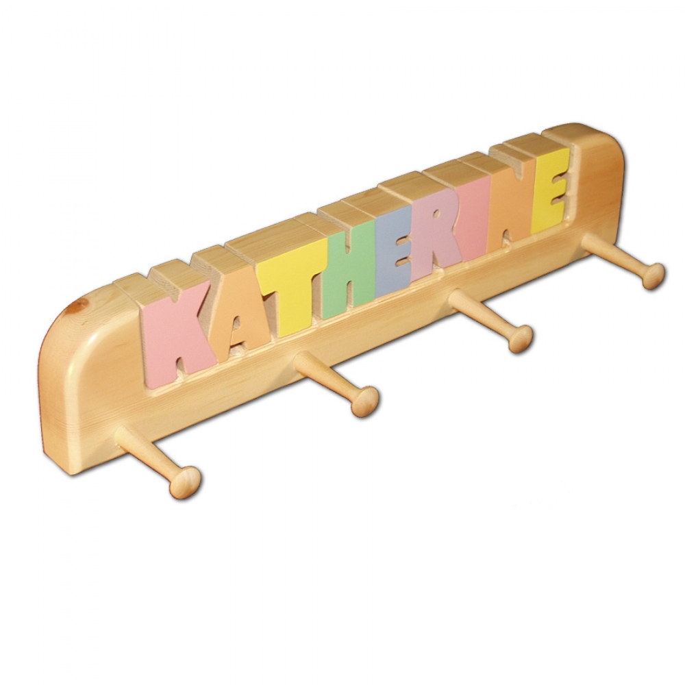 4 Peg Personalized Coat Rack In Pastel Colors Damhorst
