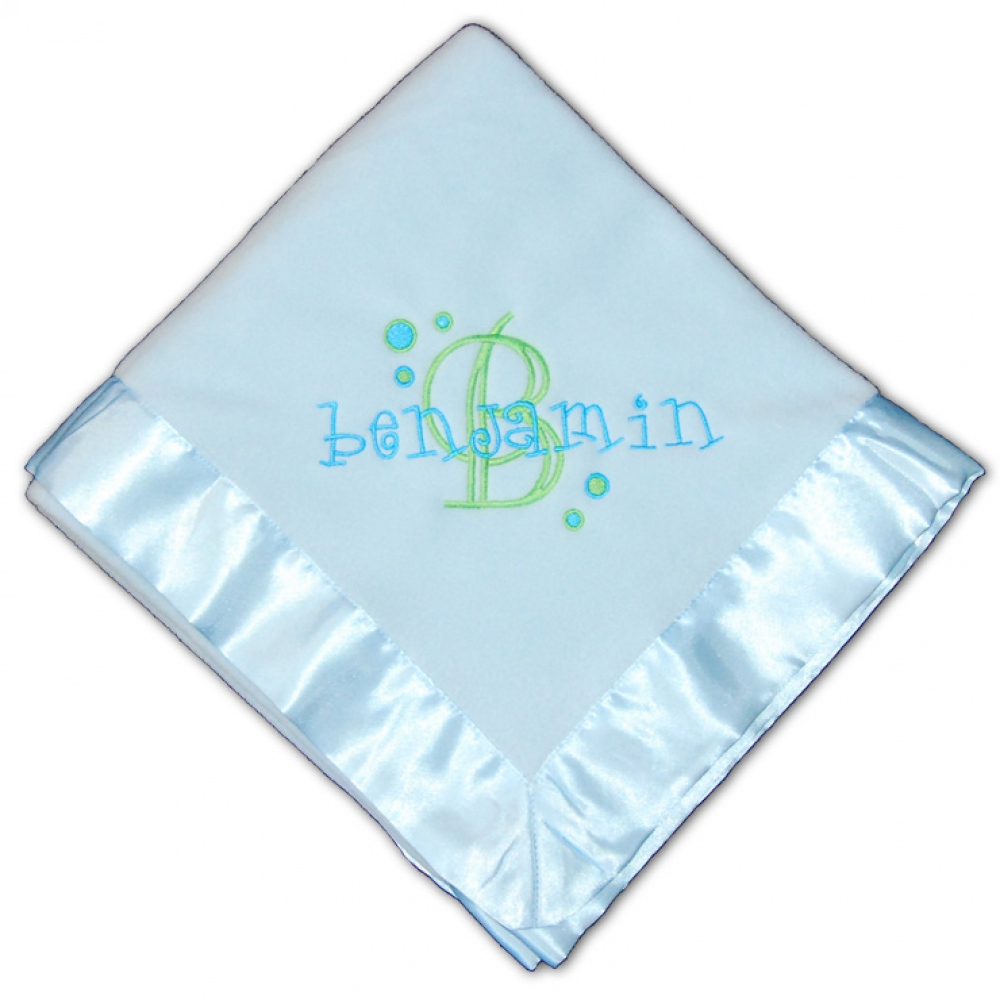 Personalized Embroidered Blue Dot Blanket Damhorst Toys