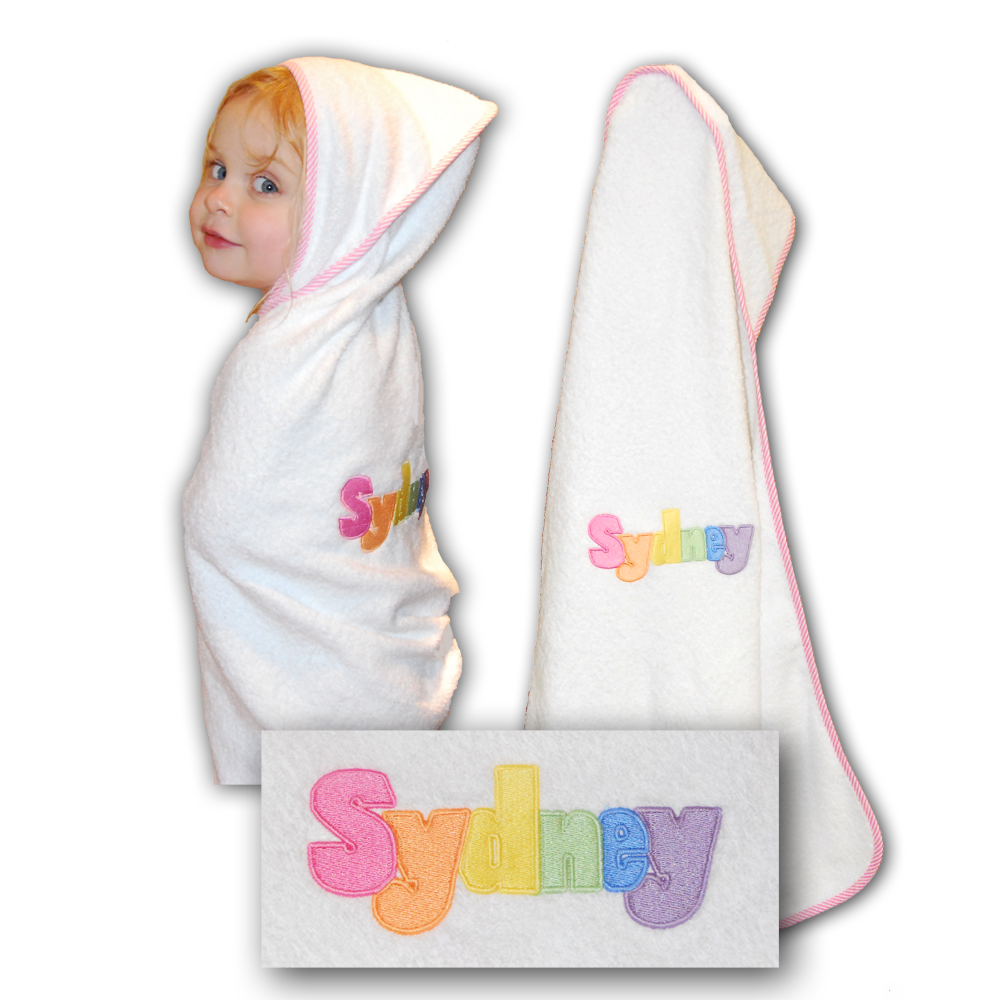 White Embroidered Hooded Towel With Pink Piping Damhorst