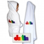 White Embroidered Hooded Towel With Blue Piping Damhorst