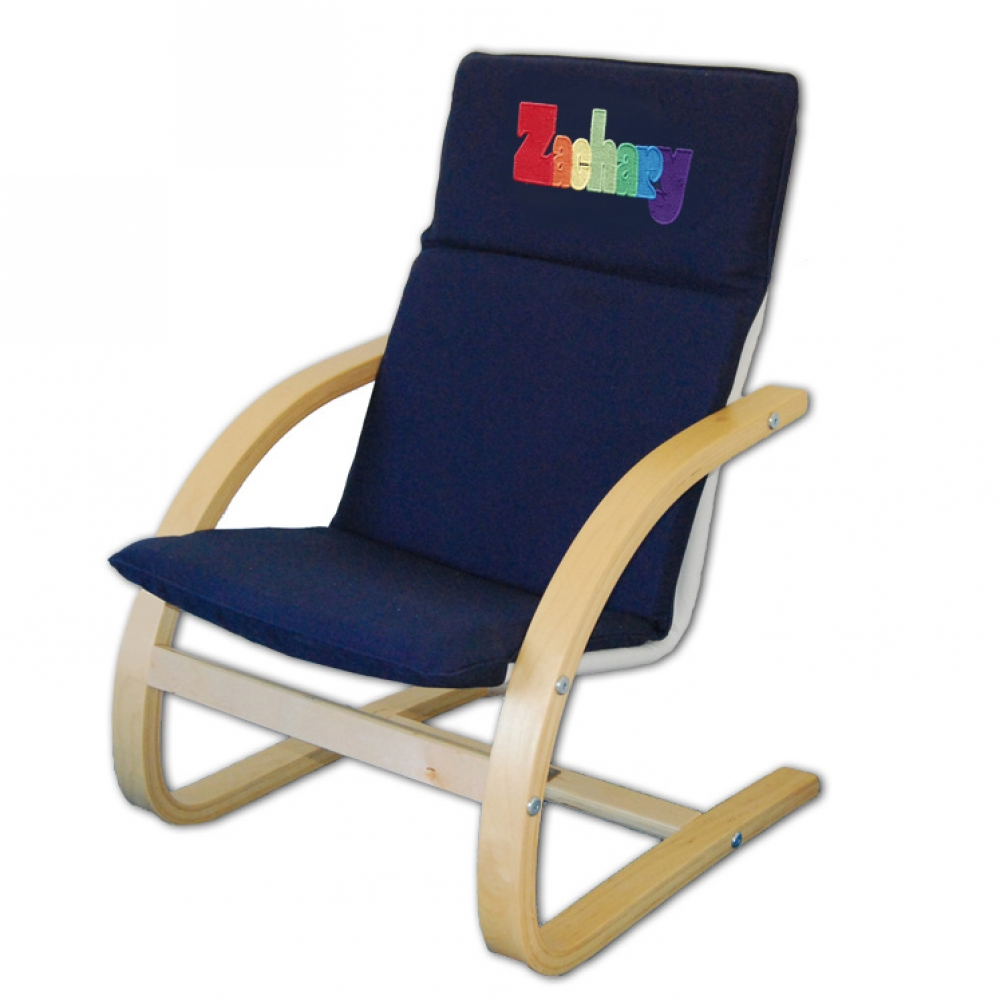 Personalized Embroidered Blue Child S Chair Large Font