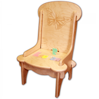 personalized wooden chair with butterfly