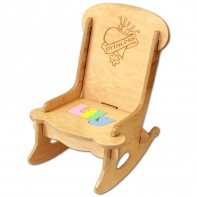 personalized wooden childs rocking chair in pastel colors