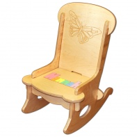 butterfly wooden childs rocking chair