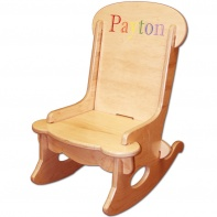engraved wooden childs rocking chair