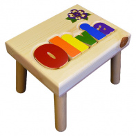 Damhorst Toys Name Puzzle Stool with Inlaid Flower in primary colors