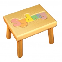 Small Name Puzzle Stool Pastel Colors
