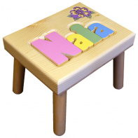 Damhorst Toys Name Puzzle Stool with Inlaid Flower in pastel colors