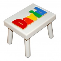 Small Name Puzzle Stool White in Primary Colors