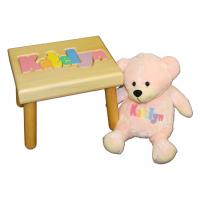 name stool and pink bear