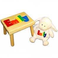 name stool and white lamb