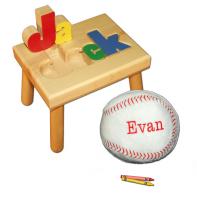 name stool and baseball pillow