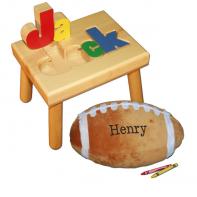 name stool and football pillow