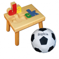 name stool and soccer pillow