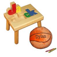 name stool and basketball pillow