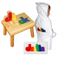 name stool and bath towel primary colors