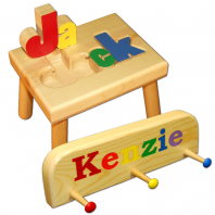 name stool and coat rack