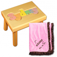 name stool and embroidered blanket
