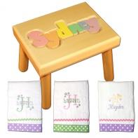 pastel name stool and burp cloth