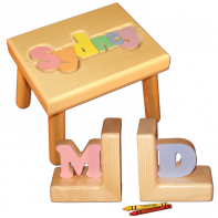 name stool in pastel colors with bookends