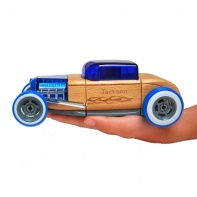 personalized engrave blue hotrod automoblox