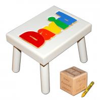 white name stool and birth block