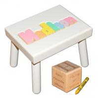 white pastel name stool and birth block