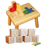 name stool and engraved letter blocks