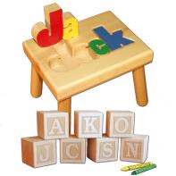 name stool and engraved letter blocks
