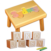 pastel name stool and engraved letter blocks