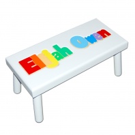 Large White Name Puzzle Stool in Primary Colors
