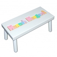 Large White Name Puzzle Stool in Pastel Colors