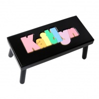 Large Black Name Puzzle Stool in pastel colors